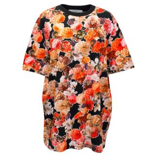 Givenchy Black T-Shirt with Colourful Floral Print