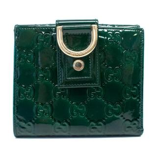 Gucci Green Patent Leather Monogrammed Wallet