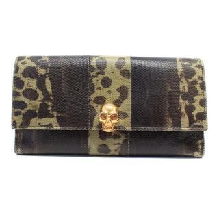 Alexander McQueen Lizard Embossed Wallet with Gold Skull