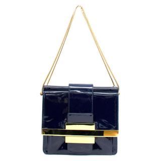Lanvin Navy Patent Leather Shoulder Bag with Gold Hardware