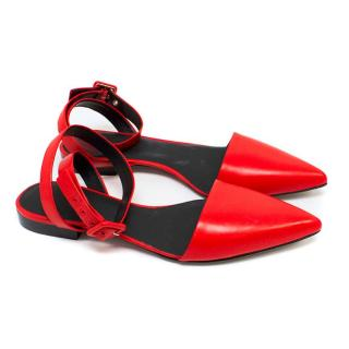 Alexander Wang Red Pointed Flats with Wrap Around Ankle Strap