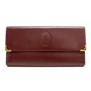 Must de Cartier Burgundy Wallet with Gold Accents