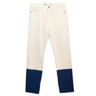 Marni Men's Cream Jeans with Blue Hems