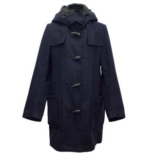 Givenchy Men's Navy Duffle Coat with Hood and Toggle Buttons