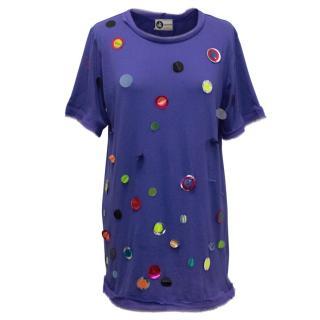 Lanvin Embellished Blue T-shirt