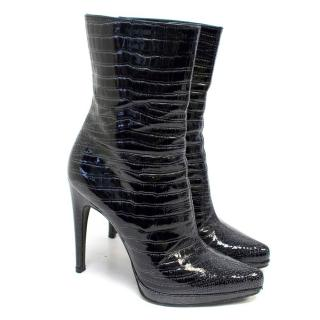 Casadei Dark Blue Patent Leather Croc Effect Ankle Boots