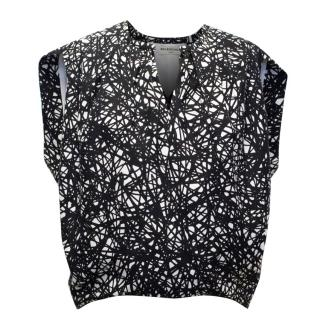 Baleciaga Black and White Printed Top