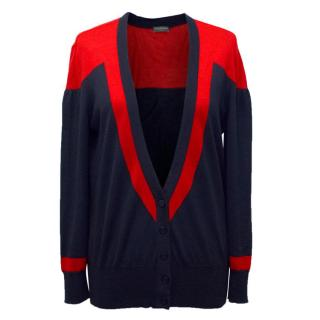 Alexander McQueen Cashmere Blend Red and Navy Cardigan