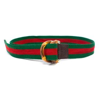 Gucci Green and Red Canvas Belt with Bamboo Effect Buckle