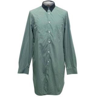Acne Men's Light Teal Long Shirt with Navy Collar