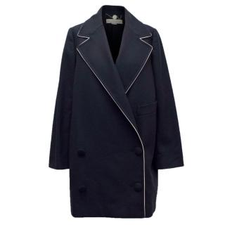 Stella McCartney Navy Wool and Cashmere Blend Coat