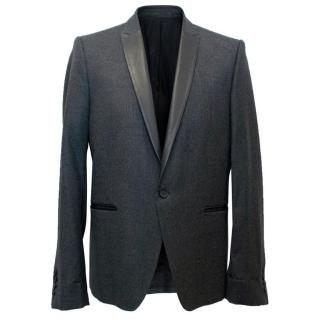 The Kooples Men's Dark Grey Blazer with a Leather Lapel