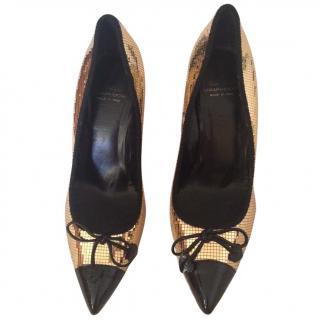Moschino Cheap and Chic Black and Gold Heels