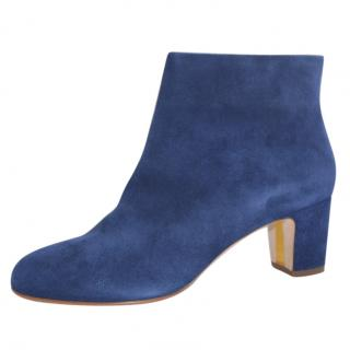 Rupert Sanderson Navy Blue Suede Ankle Booties/boots