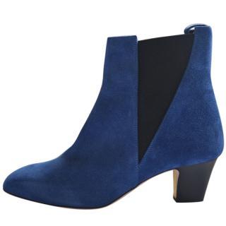 Rupert Sanderson Oscar Blue Suede Ankle Boots/Booties