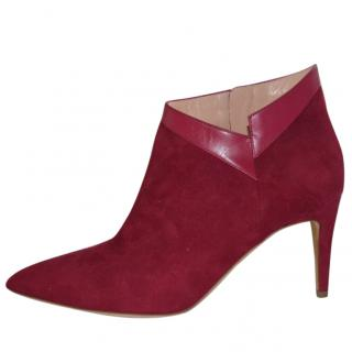 Rupert Sanderson Claire Persian Red Suede/Leather Ankle Booties