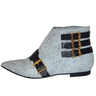 Rupert sanderson White/Black Leather Ankle Booties/Boots