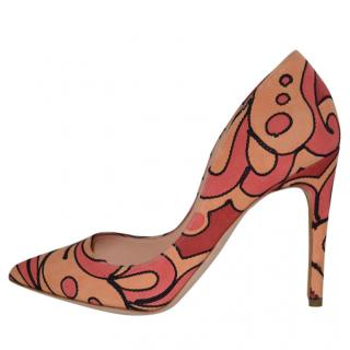 Multicoloured suede high heel pumps