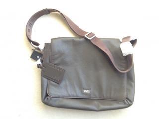 Boss leather messenger bag