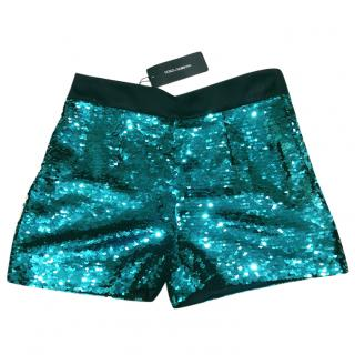 Dolce & Gabbana Green Sequins Shorts, Size 44, UK12