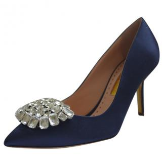 Rupert Sanderson Blue Satin pumps with a Crystal Pebble