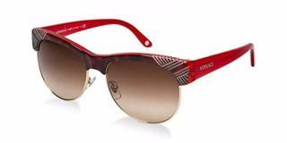 Versace VE4122 Red & Brown Half Rim Wayfarer Sunglasses