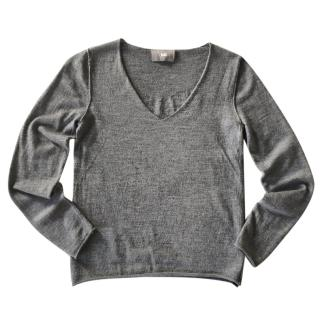 Zadig & Voltaire grey wool V neck sweater wings back