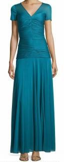 Halston Heritage Womens Ruched V-Neck Short-Sleeve Gown