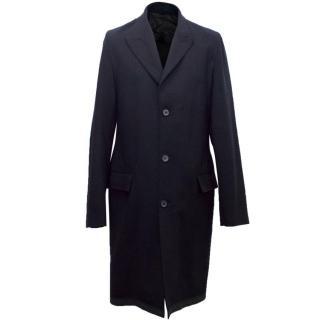Lanvin Men's Lightweight Navy Wool Coat