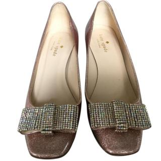 Kate Spade Block Heel Diamante Bow Shoes