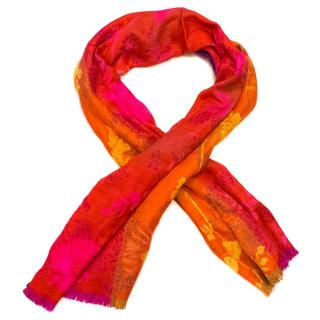 Kenzo Multicoloured Bright Wool Blend Scarf with Fringing