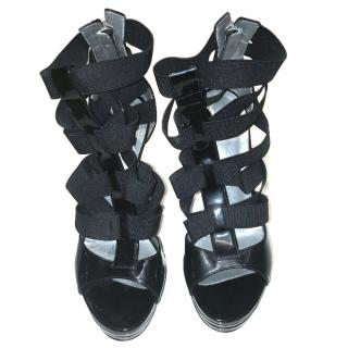 Casadei black elastic strapped open toe heels