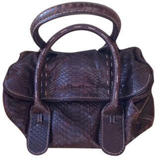 Zagliani chocolate python bag