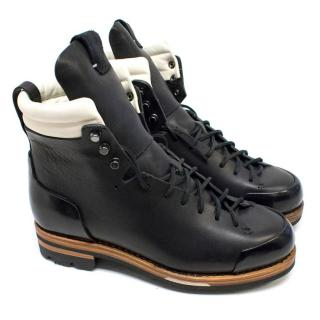 Feit Men's Black Leather Lace Up Hiker Boots
