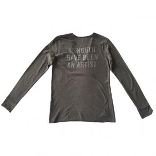 Zadig & Voltaire dark grey long sleeved cotton t-shirt V-neck