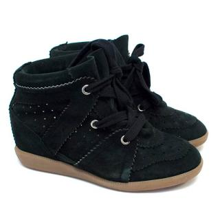 Isabel Marant Bobby Black Suede Wedge Trainers