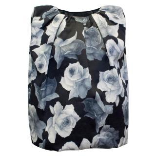 Lanvin Silk Blend Black and Floral Patterned Top