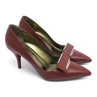 Lanvin Maroon Leather Court Shoes with Gold Toned Details