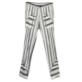 Peter Pilotto Cream and Grey Striped Trousers