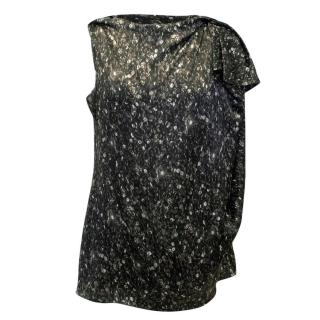 Lanvin Silk Sequins Print Sleeveless Blouse