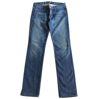 Earnest Sewn washed blue jeans straight legs