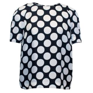 Victoria Beckham Jeans Navy and White Polka Dot Top