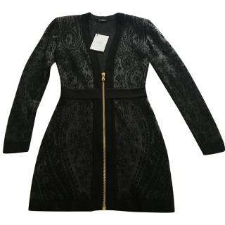 Balmain lace v neck zip dress