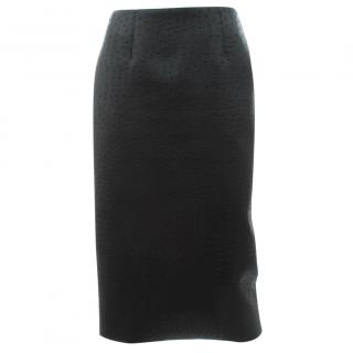 Cedric Charlier Embossed Back Zip Pencil Skirt