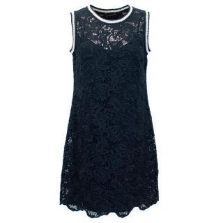 Ermanno Scervino Navy Crotchet Dress