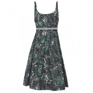 SportMax Bottle green floral print sleeveless Dress