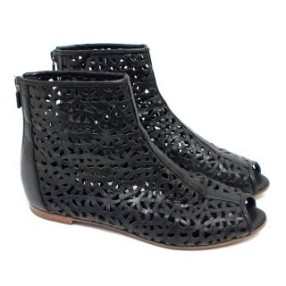 Walter Steiger Black Leather Lazer Cut Out Booties