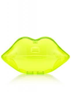Lulu Guinness Neon Green Lips Clutch Bag