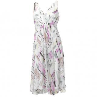 MaxMara Studio Pastel Print Sleeveless Silk Dress