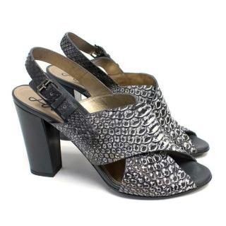 Lanvin Python Skin Slingback Mules with Block Heel